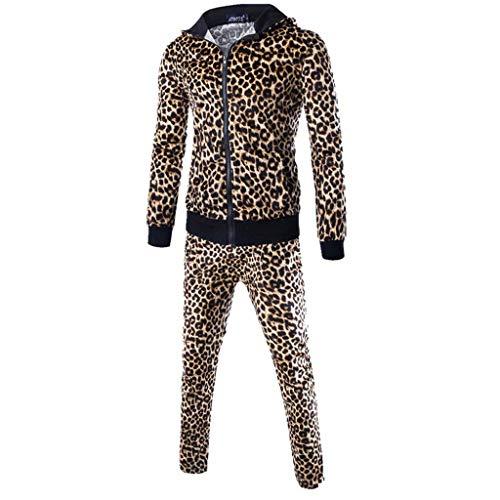 FRAUIT Herren Leopard Hoodies Sweatshirt Tops+Hosen Sportanzug Sets Trainingsanzug Herbst Winter Männer Kapuzenjacke Sweatjacke Mode Streetwear Warm Atmungsaktiv Bequem Kleidung M-2XL