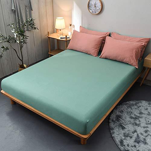 haiba Protector de colchón extra profundo de algodón, tamaño superking, calidad de hotel, extra confort y protección, verde, 150 x 200 cm + 25 cm