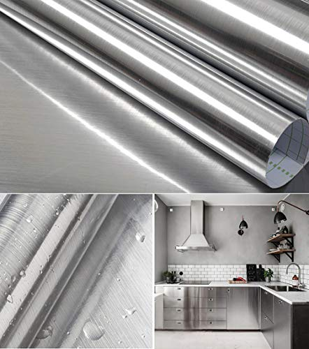 """Silver Self Adhesive Contact Paper 17.7""""X 78.7"""" Stainless Steel Look Wallpaper Metallic Silver Peel and Stick Wallpaper Rust Resistant Vinyl Film for Kitchen Countertop Cabinet Backsplash Refrigerator"""