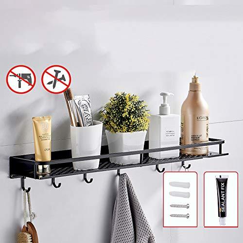 Kruidenrek, keukengerei, kruidenrek met dubbele functie, voor keuken, kast, badkamer (zwart), 60 cm + haak