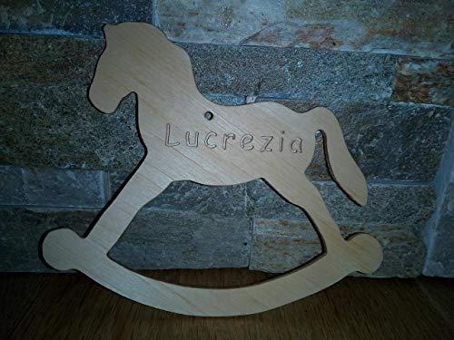 Cavallino a dondolo bambini legno personalizzato, Cavallo- bomboniera personalizzata, regalo nascita battesimo matrimonio
