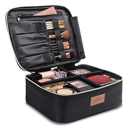 Lifewit Borsa Cosmetica Da Viaggio Con Divisori Regolabili, Borsa Porta Trucco Grande, Borsa da Viaggio Trucco Portatile, Nera (Nera 16)