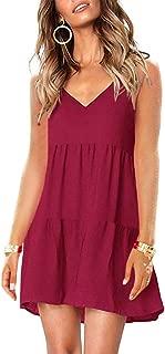 Imysty Womens V Neck Spaghetti Strap Pleated Sleeveless Summer Casual Swing A line Mini Dress