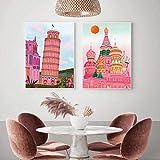 Póster de Pisa Lisboa Barcelons Edificio Rosa Nordic Travel Decor 2 piezas 60 x 80 cm/23.6' x 31.5' Sin marco