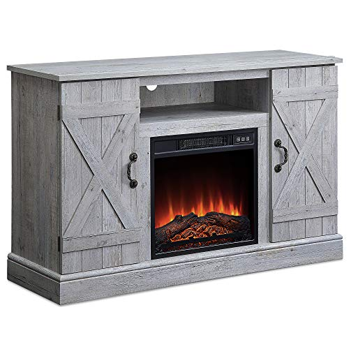 47 Inch Wooden Infrared Electric Fireplace, TV Stand Up to 50' with Heater Fireplace, Realistic Glowing Log Burn Flame Heater Storage Entertainment Room Organizer TV Shelf Door Cabinet, Light Grey