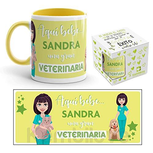 Kembilove Taza de Café de la Mejor Veterinaria del Mundo Personalizada con el Nombre – Taza de Desayuno para la Oficina – Taza de Café y Té para Profesionales – Taza de Cerámica para Veterinarias