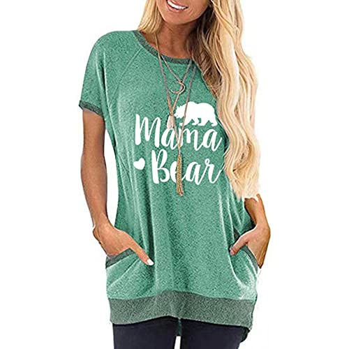 WXDSNH Camiseta De Bolsillo con Cuello Redondo para Mujer Estampado De Bloqueo De Color Manga Corta Verano Todo Fósforo Casual Camisetas Largas