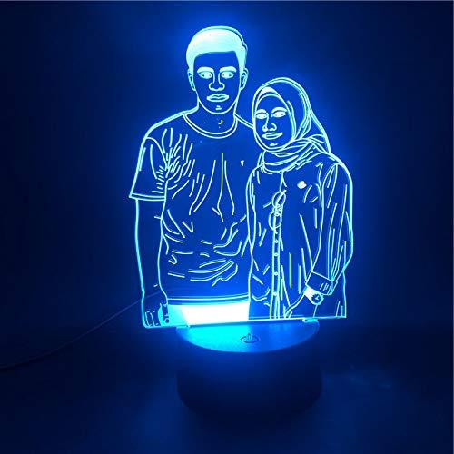 3D-lamp Koppels Portretaanpassing De wekker Basis Nachtlampje Mooie beloning Batterijvoeding Usb Led-nachtlampje Lamp