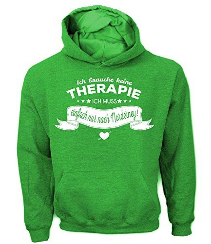 Artdiktat Herren Hoodie Ich brauche keine Therapie - Ich muss einfach nur nach Norderney Größe XL, grün