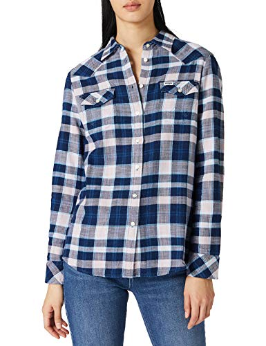 Wrangler Slim Reg Western Camicia, Argento e Rosa, XS Donna