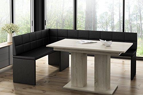 Hoekbank Marta zwart met zuiltafel eiken keukenbank zithoek dik bekleed kunstleer onderhoudsvriendelijk stabiel houten frame 142x196L