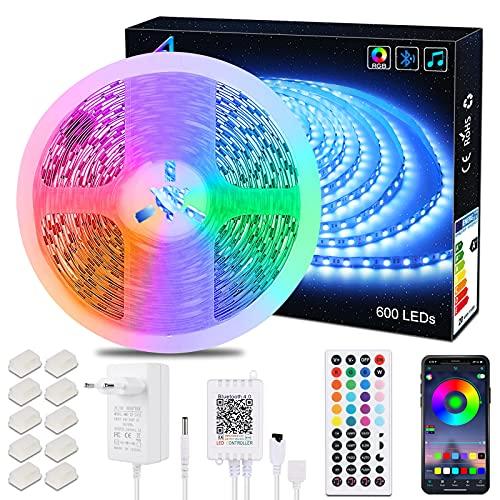 Striscia LED 10M Bluetooth, ALED LIGHT Nastri LED 10 Metri 600 LEDs 5050 RGB SMD, Cambiamento Delicato di Colore, 24V Alimentatore Telecomando a 44 Tasti Recettore Luci Colorate per Decorazioni