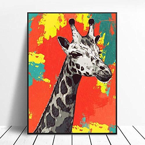 YB Giraffe canvas schilderij wandkunst afbeeldingen afdrukken wooncultuur wandposter decoratie voor woonkamer 40x60cm geen lijst