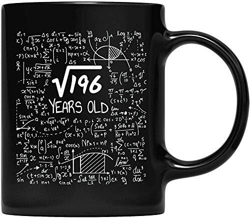 NA Raíz Cuadrada de 196: 14 años, 14 cumpleaños Taza de café para Padre y Madre, Abuelo, Abuela y Regalos para Amigos