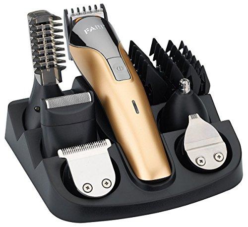 FARI Juego de recortadores de barba, cortapelos recargable, recortador de nariz y kit de afeitadora corporal (Dorado)