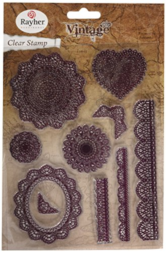 Rayher Hobby 58174000 Clear Stamps Vintage Spitzenormanente, klar, transparent, durchsichtig, 10 Spitzenornamente, 2 – 12,5 cm, Stempel