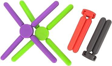 BESTONZON 4PCS Cross Shape Insulation Mat Collapsible Silicone Pad Saucepan Pads Pots Pans Mat for Kitchen Dining