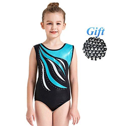 Hougood Turnanzug für Mädchen Ballett Tanz Bodysuit Streifen Diamant Ballett Leotards Ärmellose Tanzkleidung Gymnastik Tanz Kostüme Alter 3-14 Jahre alt