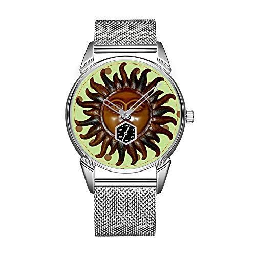 Reloj de pulsera para hombre de acero inoxidable plateado, resistente al agua, de marca superior, de madera, tallado con sol sobre lunares verdes