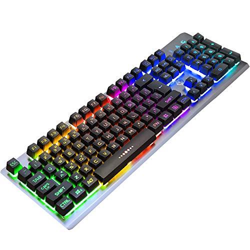 Metalen mechanisch touch-toetsenbord, kantoor startpagina USB-kabel achtergrondverlichting internetcafés online koffiespel toetsenbord, gebruikersgedefinieerde 260.000 lichteffecten