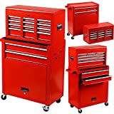 Rolling Tools Chest with Drawers Tools Storage Chest for Garage Toolbox Chest on Wheels 8-Drawer Tool Storage Cabinet Steel (Red)