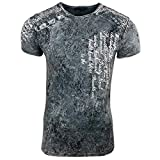 Rusty Neal Herren T-Shirt Slim Fit mit Vintage Used Waschung Washed A1-RN-15195, Farbe:Anthrazit, Größe:2XL