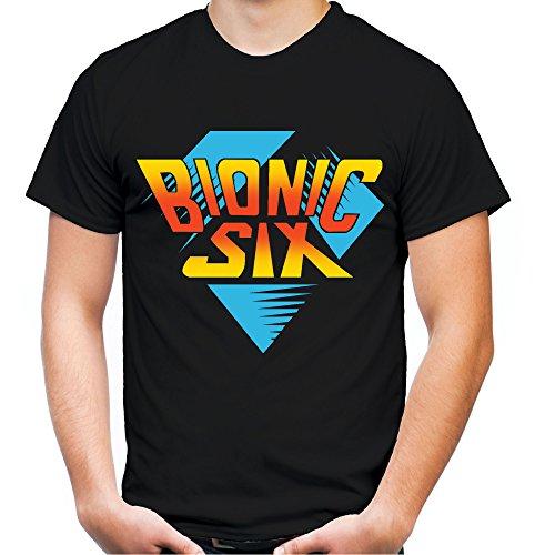 Bionic Six Männer und Herren T-Shirt | Die Sechs Millionen Dollar Familie ||| (L, Schwarz)