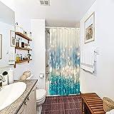 LIGHTINHOME Duschvorhang mit blauen glänzenden Punkten (kein Glitzer) 91,4 x 183,9 cm, blaugrün, goldfarben, Bokeh, gepunktet, glitzernd, wasserdicht, Heim-Badewannen-Dekoration, 12 Stück