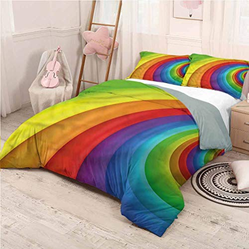 Rainbow Bed Sheets Set Full, Microfiber Sheet Set Half Circles Perspective Comfortable Hotel Bedding - Full 80'x90'