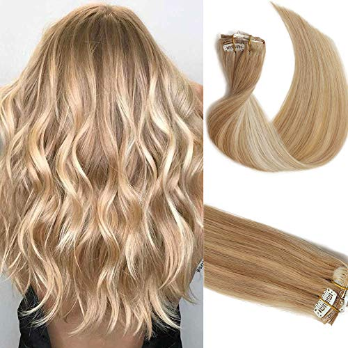 15inch Clip in Natural Hair Extensions Strawberry Blonde with Highlights Remy 100% Real Hair Extensions Clip in Blayage Silky Straight Shedding Free 70g 7Pcs(#27-613)