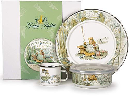 Golden Rabbit - Enamelware Jeremy Fisher Pattern Child Dinner Set