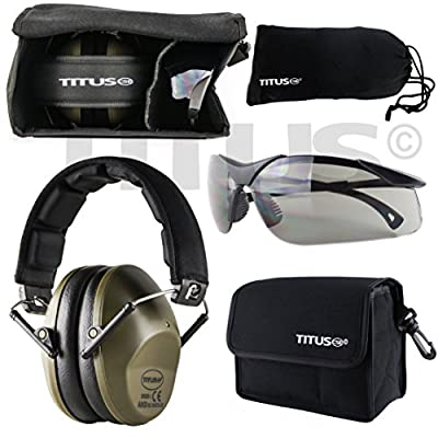 Titus TOP Slim-Line Safety Glasses and Earmuff Combos (Olive, G28 Smoke EMT Professional Glasses)