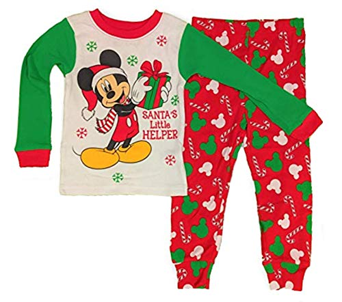 Mickey Mouse Pajamas Christmas Santas Little Helper 2-Piece PJ Set for Toddlers (4T) White