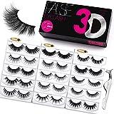 Eliace Eyelashes 3D Mink Lashes Fluffy | 15 Mixed Styles 15 Pairs Strip Fake Eyelashes 3D Mink Volume | Eyelashes Natural Look Wispies Mink & Luxury False Eyelashes Pack-Free Makeup Tool Lash Tweezers