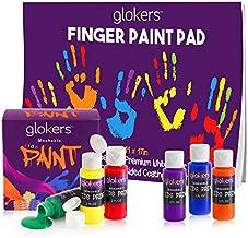 "glokers Kids Finger Paint Set – 6 Non-Toxic Washable Kids Paint, 11x17"" Finger Paint Pad with 50 Sheets"