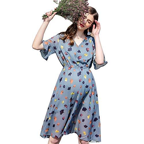Uioy Robe - Printemps et été des Femmes en Mousseline de Soie à Manches Courtes New Thin Mama Fashion Robe de maternité (Couleur : Bleu, Taille : L)