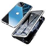 Jonwelsy Cover per iPhone 11 PRO (5,8 Pollice), Adsorbimento Magnetico Paraurti in Metallo con 360 Gradi Protezione Case Doppi Lati Trasparente Vetro Temperato Flip Custodia per iPhone 11 PRO