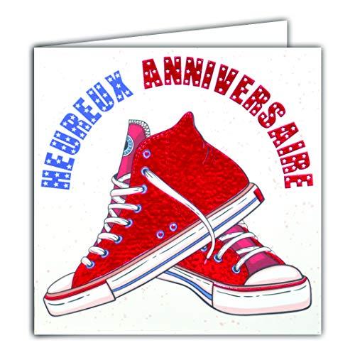 Tarjeta cuadrada roja brillante para cumpleaños, zapatillas deportivas a la moda, tenis de tela