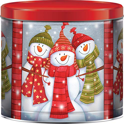 GiftPop Snowman Groupie Assorted Holiday Popcorn, 22 Oz Tin, Caramel, Cheddar Cheese & Butter Flavored