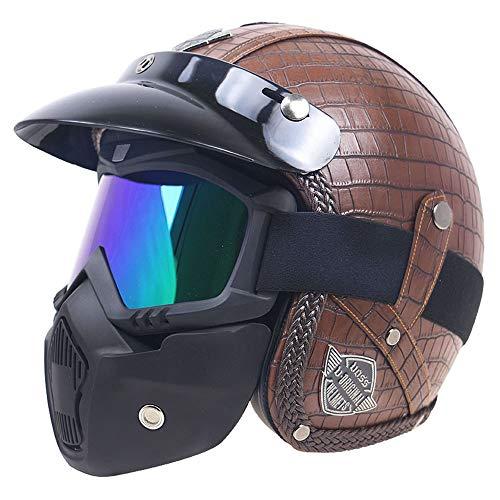Cuir PU Harley Casques 3/4 Moto Chopper vélo Casque Open Face Casque de Moto Vintage avec Masque et Masque,XL