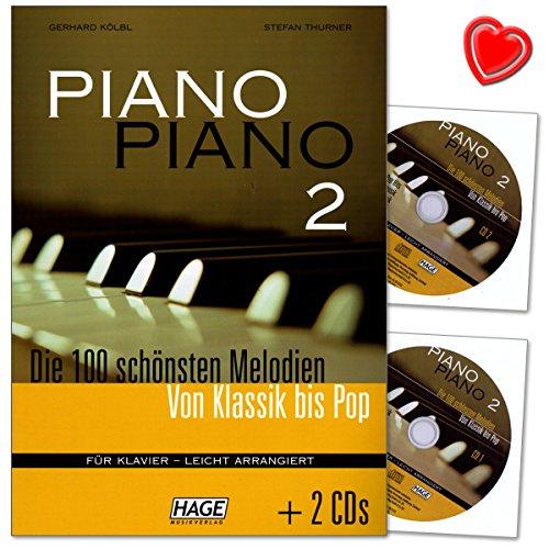 Piano Piano 2-100 tolle Melodien aus den Bereichen Klassik, Lieder aus aller Welt, Evergreens, Pop Hits, Barmusik, Filmmusik und Musical - 2 CDs, Notenklammer EH4733 9783866260542