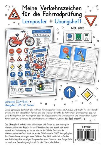 Meine Verkehrszeichen für die Fahrradprüfung- mit den neuen Verkehrszeichen: Lernheft DINA 5 + Poster 32 x 46cm - Set