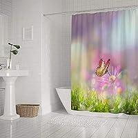 ZHONGJI シャワーカーテン バスルーム 浴室カーテン お風呂 防水 防カビ フック付き 丈夫 仕切りカーテン 美しい蝶 花春夏,168cm×180cm