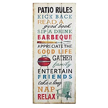Giftcraft 28  Weathered Wood Sign with Patio Rules