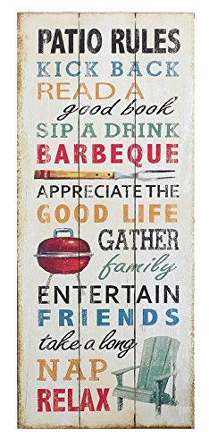 Funny Weathered Wood Sign with Patio Rules