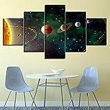 Cuadros Decor Salon Modernos 5 Piezas Lienzo Grandes XXL Murales Pared Hogar Pasillo Decor Arte Pared Abstracto HD Impresión Foto Regalo Sistema solar Galaxy Universo Planetas (Enmarcado)