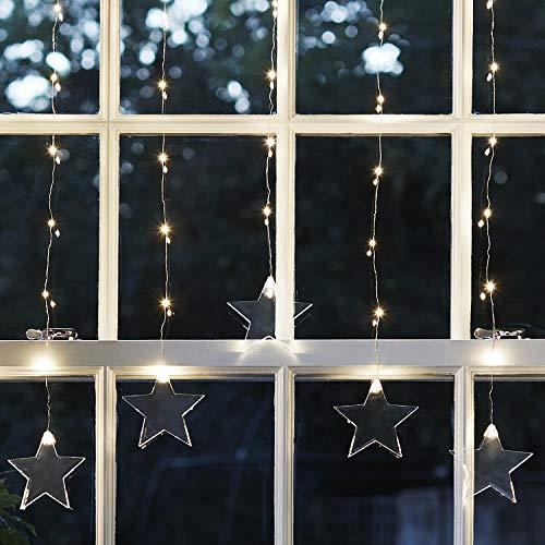 Lights4fun Rideau Lumineux Étoiles 47 Micro LED Blanc Chaud