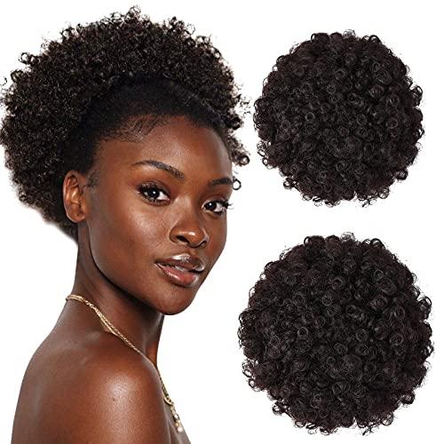 2 piezas negras AFRO CORTE Kinky Curly Spof Synthtic Africano Carrera de caballo Ponytail Wrap Updo Extensiones para el cabello para mujeres (6.5 pulgadas + 8 pulgadas 2) BJY969