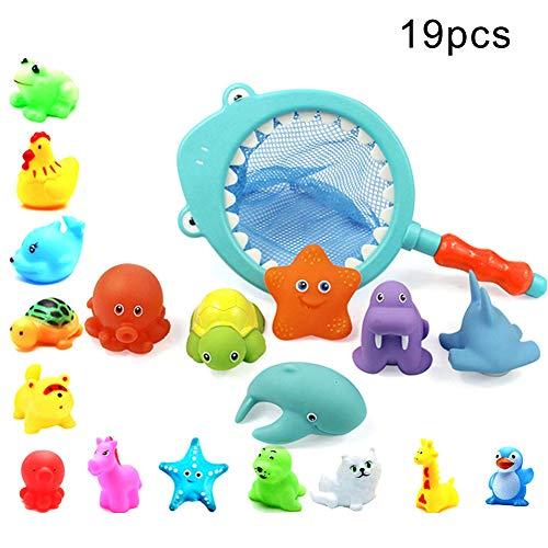 RIsxffp 19 Unids/Set Animal Juguetes de baño Muñeca Juguete del baño del apretón del bebé de la regadera chillona de la Red de la Pesca del tiburón 19Pcs/Set