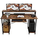 IRONCK Industrial Computer Desk 55', Office Desk with Printer Monitor Shelf Storage Shelf CPU Stand, Studying Writing Table for Home Office